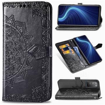 Embossing Imprint Mandala Flower Leather Wallet Case for Huawei Honor X10 5G - Black