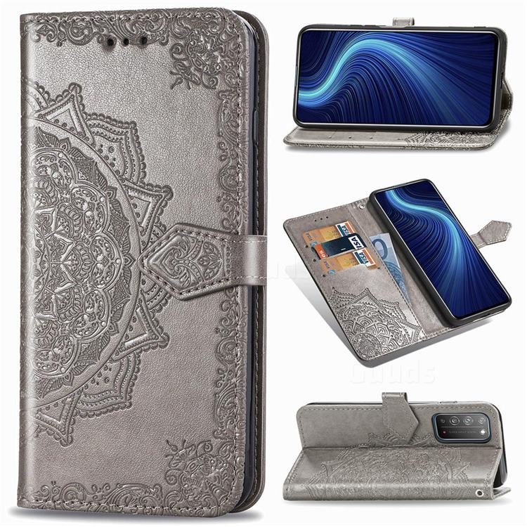 Embossing Imprint Mandala Flower Leather Wallet Case for Huawei Honor X10 5G - Gray