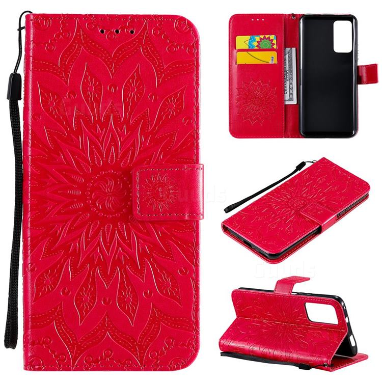Embossing Sunflower Leather Wallet Case for Huawei Honor X10 5G - Red