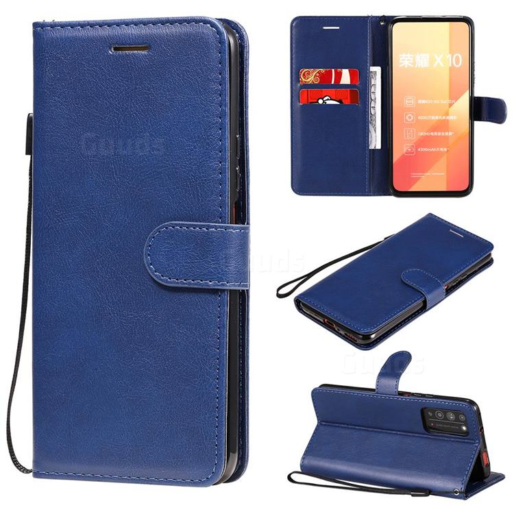 Retro Greek Classic Smooth PU Leather Wallet Phone Case for Huawei Honor X10 5G - Blue