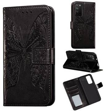 Intricate Embossing Vivid Butterfly Leather Wallet Case for Huawei Honor X10 5G - Black