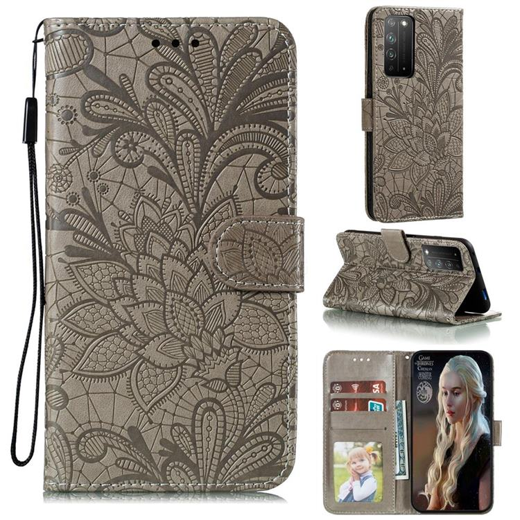 Intricate Embossing Lace Jasmine Flower Leather Wallet Case for Huawei Honor X10 5G - Gray
