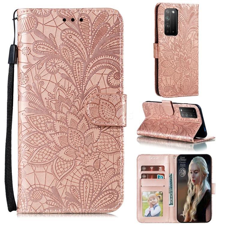 Intricate Embossing Lace Jasmine Flower Leather Wallet Case for Huawei Honor X10 5G - Rose Gold