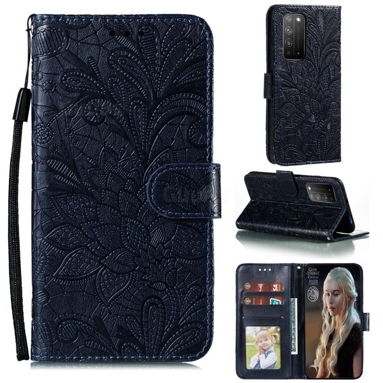 Intricate Embossing Lace Jasmine Flower Leather Wallet Case for Huawei Honor X10 5G - Dark Blue