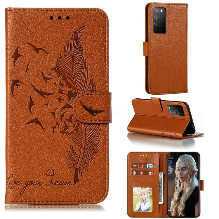 Intricate Embossing Lychee Feather Bird Leather Wallet Case for Huawei Honor X10 5G - Brown