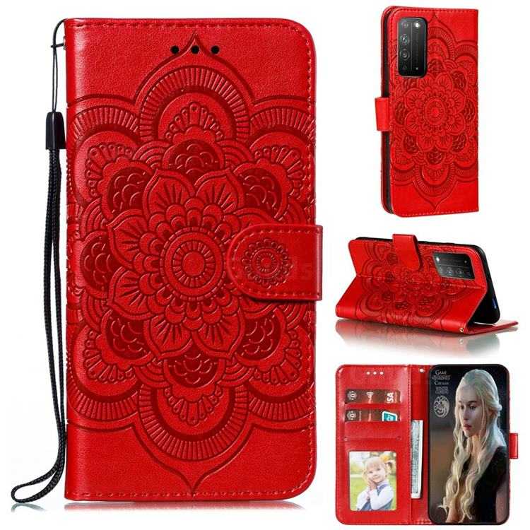Intricate Embossing Datura Solar Leather Wallet Case for Huawei Honor X10 5G - Red