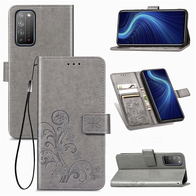 Embossing Imprint Four-Leaf Clover Leather Wallet Case for Huawei Honor X10 5G - Grey