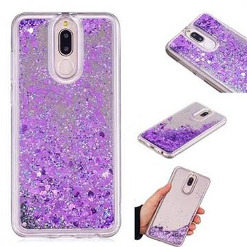 Glitter Sand Mirror Quicksand Dynamic Liquid Star TPU Case for Huawei Mate 10 Lite / Nova 2i / Horor 9i / G10 - Purple