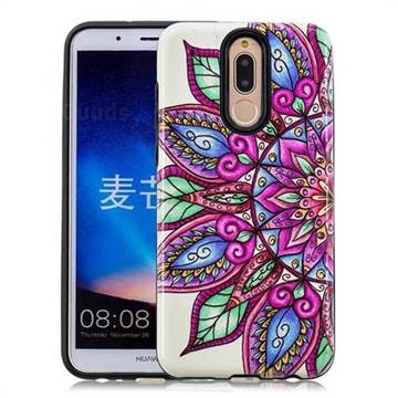 Mandara Flower Pattern 2 in 1 PC + TPU Glossy Embossed Back Cover for Huawei Mate 10 Lite / Nova 2i / Horor 9i / G10