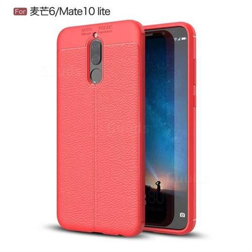 Luxury Auto Focus Litchi Texture Silicone TPU Back Cover for Huawei Mate 10 Lite / Nova 2i / Horor 9i / G10 - Red