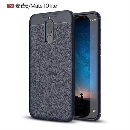 Luxury Auto Focus Litchi Texture Silicone TPU Back Cover for Huawei Mate 10 Lite / Nova 2i / Horor 9i / G10 - Dark Blue