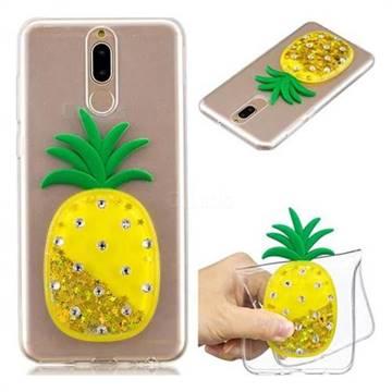 Gold Pineapple Liquid Quicksand Soft 3D Cartoon Case for Huawei Mate 10 Lite / Nova 2i / Horor 9i / G10
