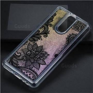 Diagonal Lace Glassy Glitter Quicksand Dynamic Liquid Soft Phone Case for Huawei Mate 10 Lite / Nova 2i / Horor 9i / G10
