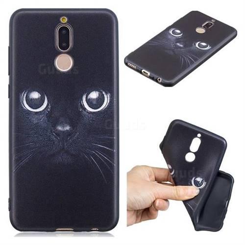 Bearded Feline 3D Embossed Relief Black TPU Cell Phone Back Cover for Huawei Mate 10 Lite / Nova 2i / Horor 9i / G10