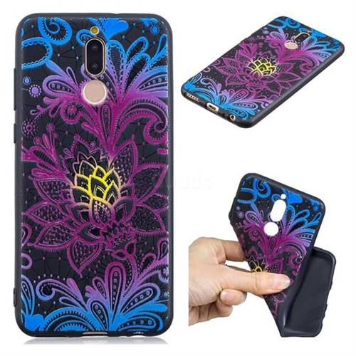 Colorful Lace 3D Embossed Relief Black TPU Cell Phone Back Cover for Huawei Mate 10 Lite / Nova 2i / Horor 9i / G10