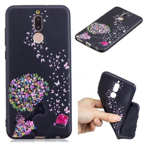 Corolla Girl 3D Embossed Relief Black TPU Cell Phone Back Cover for Huawei Mate 10 Lite / Nova 2i / Horor 9i / G10