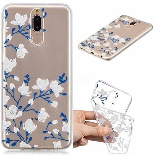 Magnolia Flower Clear Varnish Soft Phone Back Cover for Huawei Mate 10 Lite / Nova 2i / Horor 9i / G10