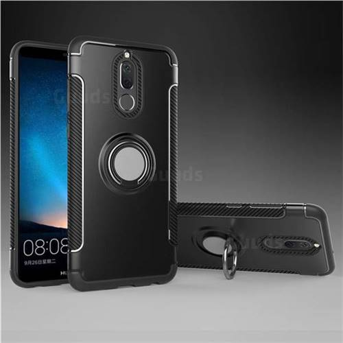 Armor Anti Drop Carbon PC + Silicon Invisible Ring Holder Phone Case for Huawei Mate 10 Lite / Nova 2i / Horor 9i / G10 - Black