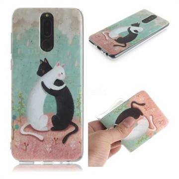 Black and White Cat IMD Soft TPU Cell Phone Back Cover for Huawei Mate 10 Lite / Nova 2i / Horor 9i / G10