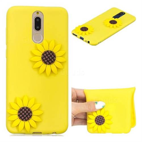 Yellow Sunflower Soft 3D Silicone Case for Huawei Mate 10 Lite / Nova 2i / Horor 9i / G10