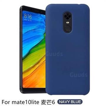Howmak Slim Liquid Silicone Rubber Shockproof Phone Case Cover for Huawei Mate 10 Lite / Nova 2i / Horor 9i / G10 - Midnight Blue
