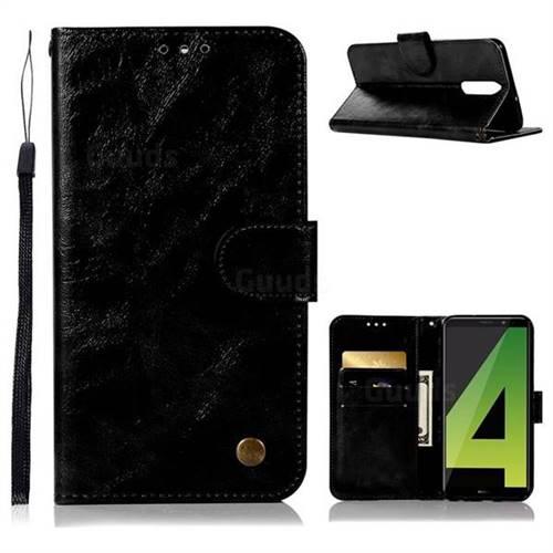 Luxury Retro Leather Wallet Case for Huawei Mate 10 Lite / Nova 2i / Horor 9i / G10 - Black