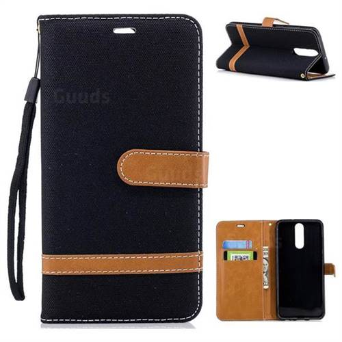 Jeans Cowboy Denim Leather Wallet Case for Huawei Mate 10 Lite / Nova 2i / Horor 9i / G10 - Black