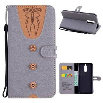 Ladies Bow Clothes Pattern Leather Wallet Phone Case for Huawei Mate 10 Lite / Nova 2i / Horor 9i / G10 - Gray
