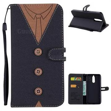 Mens Button Clothing Style Leather Wallet Phone Case for Huawei Mate 10 Lite / Nova 2i / Horor 9i / G10 - Black
