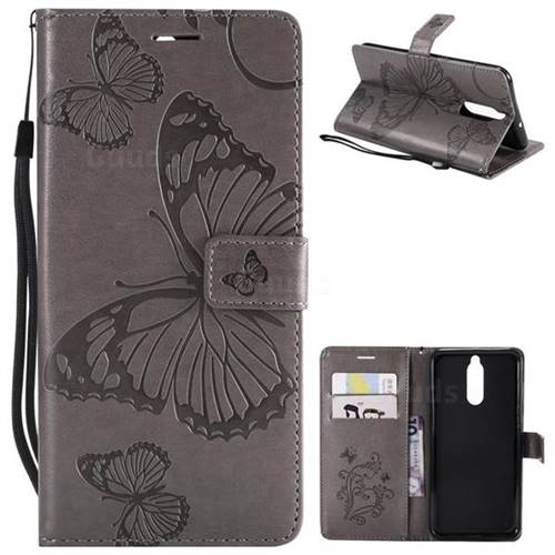 Embossing 3D Butterfly Leather Wallet Case for Huawei Mate 10 Lite / Nova 2i / Horor 9i / G10 - Gray