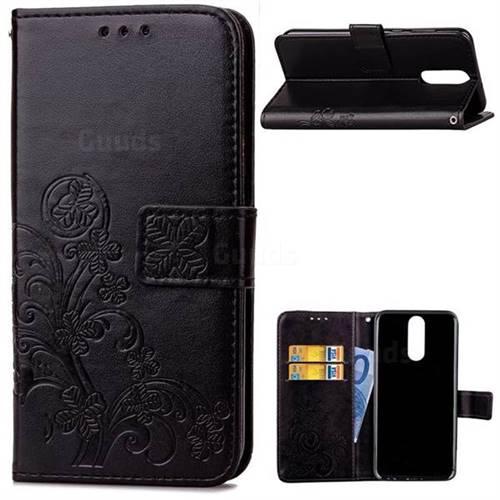Embossing Imprint Four-Leaf Clover Leather Wallet Case for Huawei Mate 10 Lite / Nova 2i / Horor 9i / G10 - Black