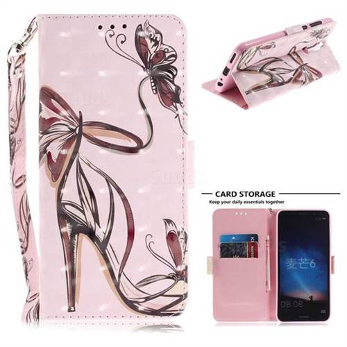 Butterfly High Heels 3D Painted Leather Wallet Phone Case for Huawei Mate 10 Lite / Nova 2i / Horor 9i / G10