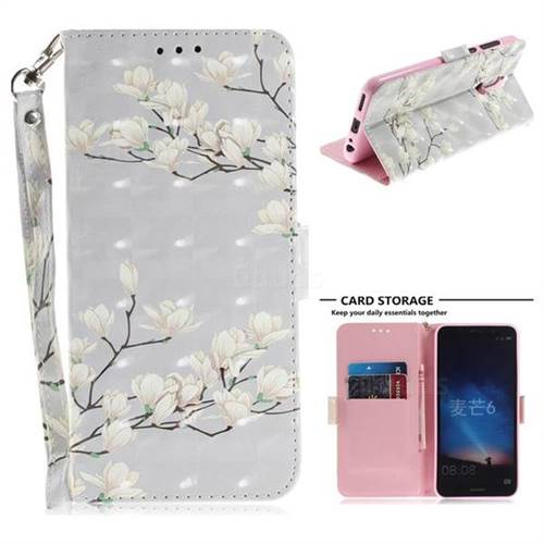 Magnolia Flower 3D Painted Leather Wallet Phone Case for Huawei Mate 10 Lite / Nova 2i / Horor 9i / G10