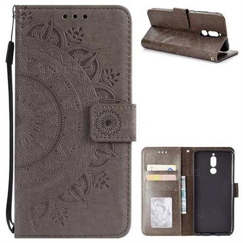 Intricate Embossing Datura Leather Wallet Case for Huawei Mate 10 Lite / Nova 2i / Horor 9i / G10 - Gray