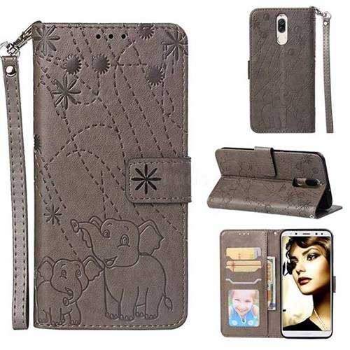 Embossing Fireworks Elephant Leather Wallet Case for Huawei Mate 10 Lite / Nova 2i / Horor 9i / G10 - Gray
