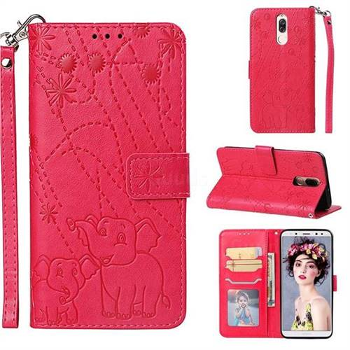 Embossing Fireworks Elephant Leather Wallet Case for Huawei Mate 10 Lite / Nova 2i / Horor 9i / G10 - Red