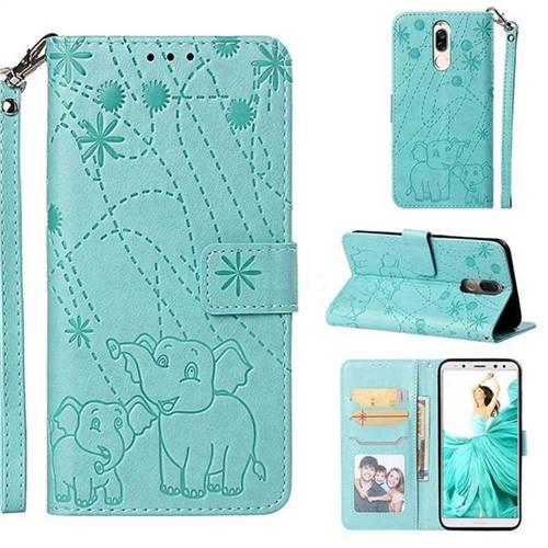 Embossing Fireworks Elephant Leather Wallet Case for Huawei Mate 10 Lite / Nova 2i / Horor 9i / G10 - Green