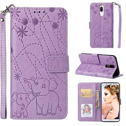 Embossing Fireworks Elephant Leather Wallet Case for Huawei Mate 10 Lite / Nova 2i / Horor 9i / G10 - Purple