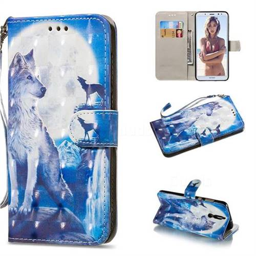 Ice Wolf 3D Painted Leather Wallet Phone Case for Huawei Mate 10 Lite / Nova 2i / Horor 9i / G10