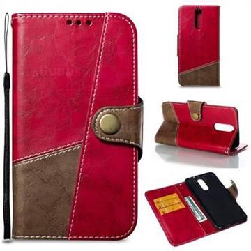 Retro Magnetic Stitching Wallet Flip Cover for Huawei Mate 10 Lite / Nova 2i / Horor 9i / G10 - Rose Red