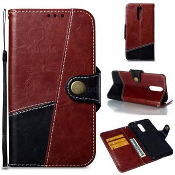 Retro Magnetic Stitching Wallet Flip Cover for Huawei Mate 10 Lite / Nova 2i / Horor 9i / G10 - Dark Red