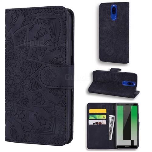 Retro Embossing Mandala Flower Leather Wallet Case for Huawei Mate 10 Lite / Nova 2i / Horor 9i / G10 - Black