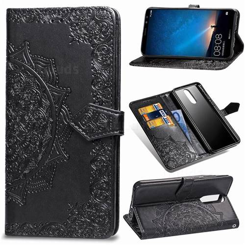 Embossing Imprint Mandala Flower Leather Wallet Case for Huawei Mate 10 Lite / Nova 2i / Horor 9i / G10 - Black
