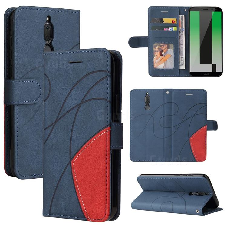 Luxury Two-color Stitching Leather Wallet Case Cover for Huawei Mate 10 Lite / Nova 2i / Horor 9i / G10 - Blue
