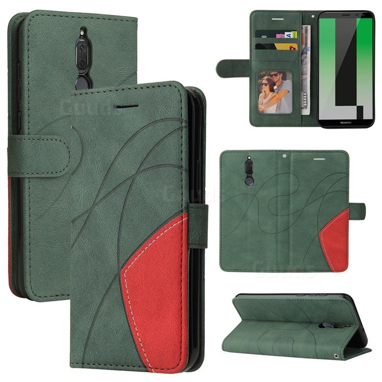 Luxury Two-color Stitching Leather Wallet Case Cover for Huawei Mate 10 Lite / Nova 2i / Horor 9i / G10 - Green