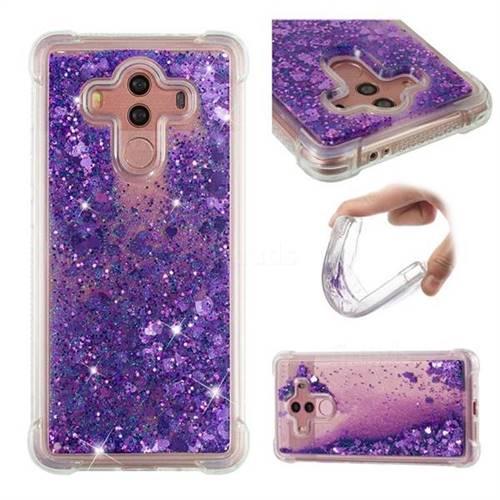 Dynamic Liquid Glitter Sand Quicksand Star TPU Case for Huawei Mate 10 Pro(6.0 inch) - Purple