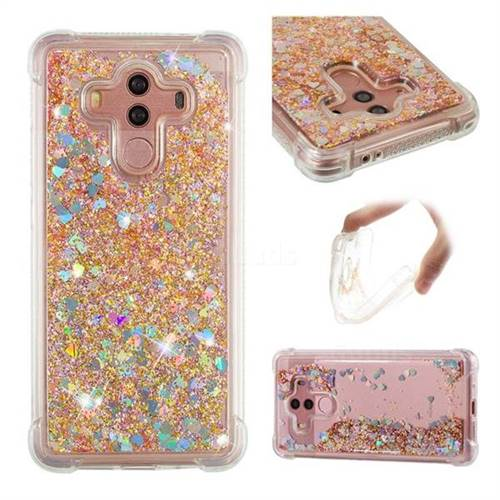 Dynamic Liquid Glitter Sand Quicksand Star TPU Case for Huawei Mate 10 Pro(6.0 inch) - Diamond Gold