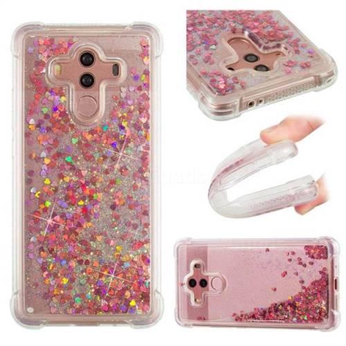Dynamic Liquid Glitter Sand Quicksand TPU Case for Huawei Mate 10 Pro(6.0 inch) - Rose Gold Love Heart