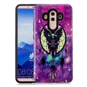 Starry Campanula Owl Pattern 2 in 1 PC + TPU Glossy Embossed Back Cover for Huawei Mate 10 Pro(6.0 inch)