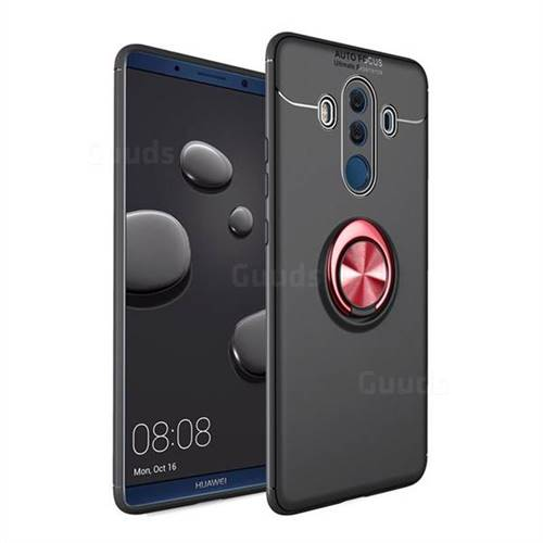 Auto Focus Invisible Ring Holder Soft Phone Case for Huawei Mate 10 Pro(6.0 inch) - Black Red
